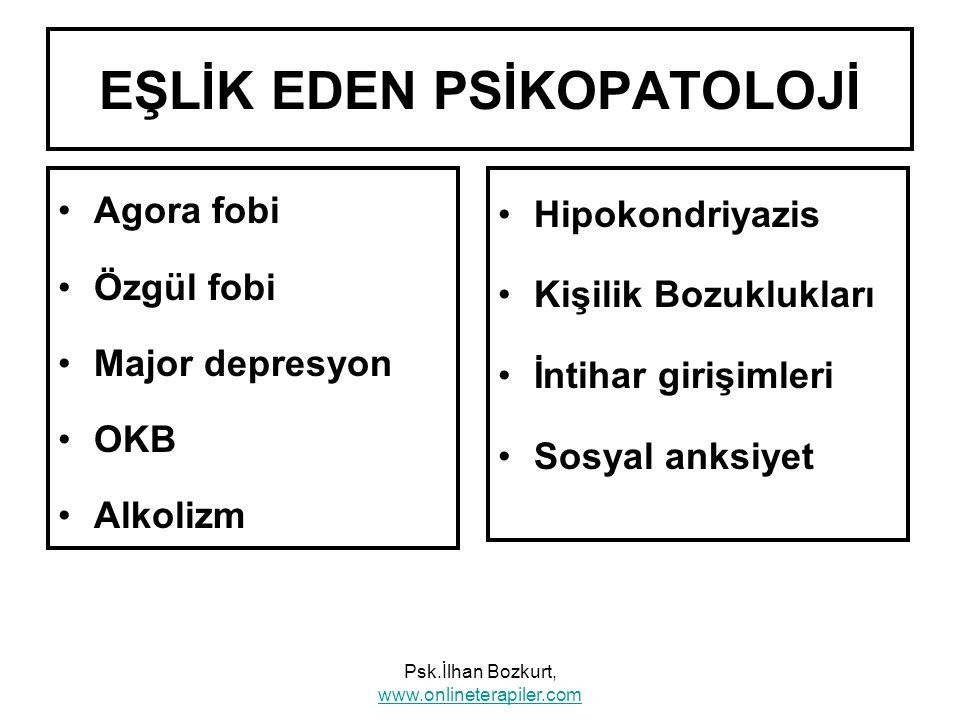 EŞLİK EDEN PSİKOPATOLOJİ Agora fobi Özgül fobi Major depresyon OKB Alkolizm Hipokondriyazis Kişilik Bozuklukları İntihar girişimleri Sosyal anksiyet P