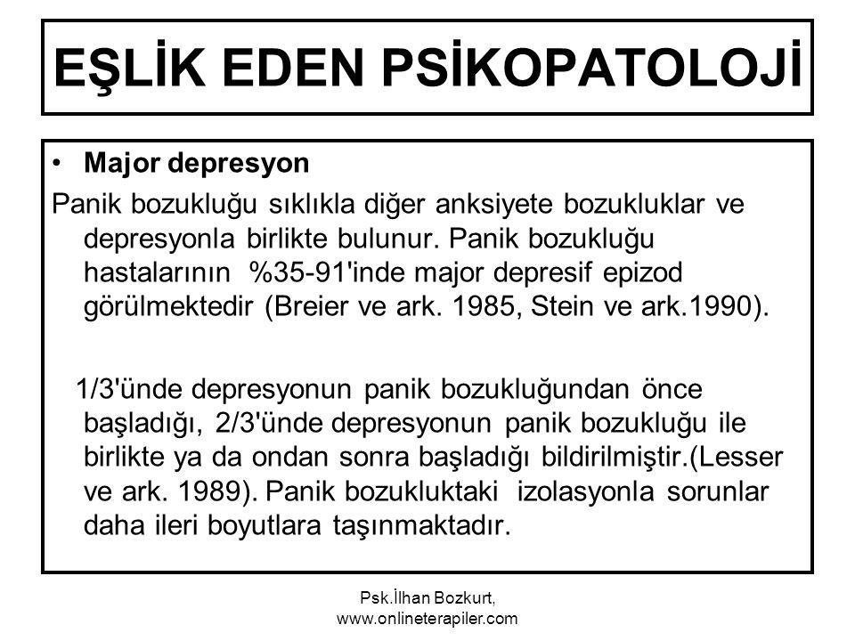 EŞLİK EDEN PSİKOPATOLOJİ Major depresyon Panik bozukluğu sıklıkla diğer anksiyete bozukluklar ve depresyonla birlikte bulunur. Panik bozukluğu hastala