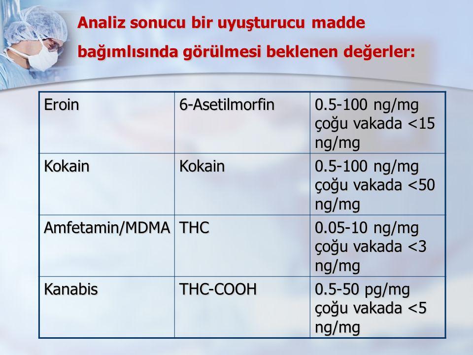 Analiz sonucu bir uyuşturucu madde bağımlısında görülmesi beklenen değerler: Eroin6-Asetilmorfin 0.5-100 ng/mg çoğu vakada <15 ng/mg KokainKokain 0.5-100 ng/mg çoğu vakada <50 ng/mg Amfetamin/MDMATHC 0.05-10 ng/mg çoğu vakada <3 ng/mg KanabisTHC-COOH 0.5-50 pg/mg çoğu vakada <5 ng/mg