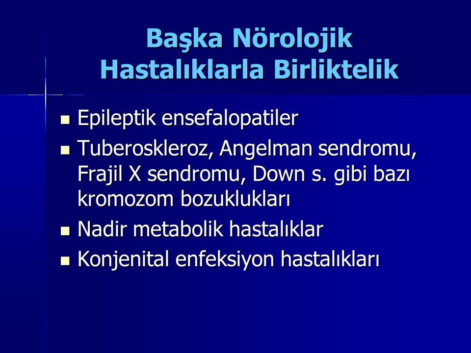 Başka Nörolojik Hastalıklarla Birliktelik Epileptik ensefalopatiler Epileptik ensefalopatiler Tuberoskleroz, Angelman sendromu, Frajil X sendromu, Dow