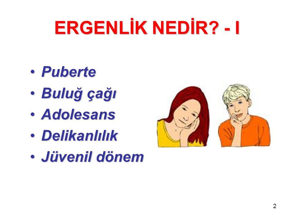2 ERGENLİK NEDİR? - I PubertePuberte Buluğ çağıBuluğ çağı AdolesansAdolesans DelikanlılıkDelikanlılık Jüvenil dönemJüvenil dönem