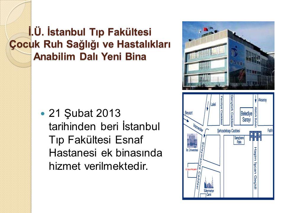 İ.Ü. İstanbul Tıp Fakültesi Çocuk Ruh Sağlığı ve Hastalıkları Anabilim Dalı Yeni Bina 21 Şubat 2013 tarihinden beri İstanbul Tıp Fakültesi Esnaf Hasta