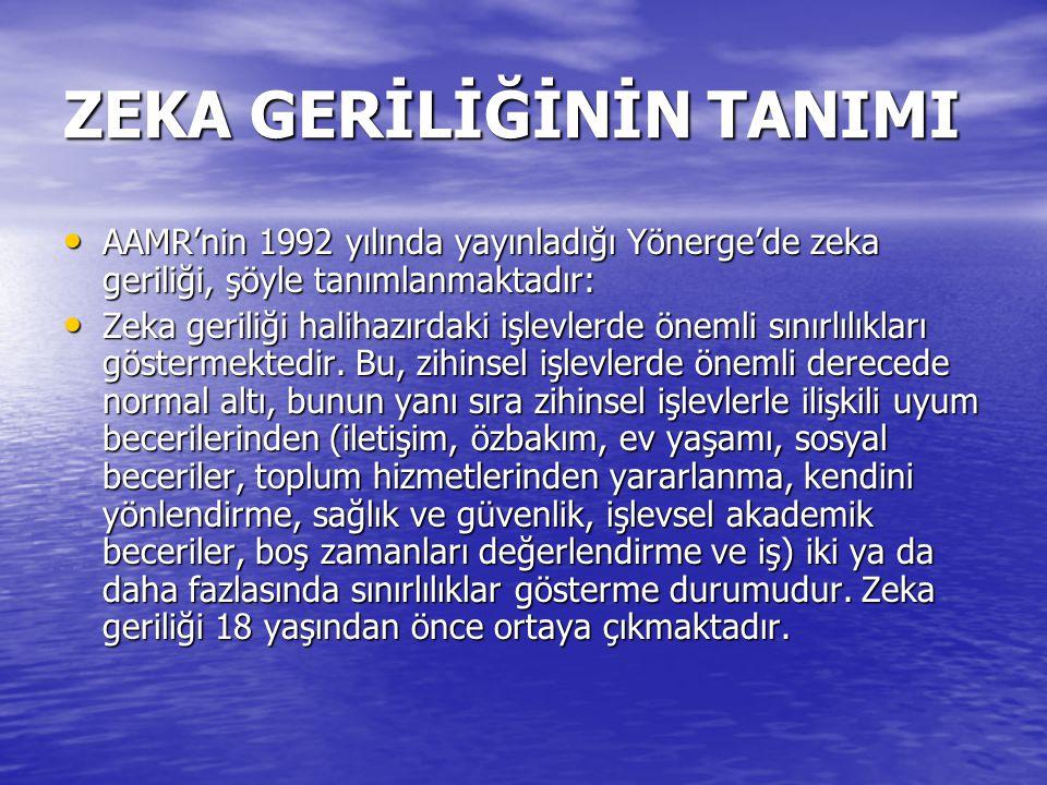 ZEKA GERİLİĞİNİN TANIMI AAMR'nin 1992 yılında yayınladığı Yönerge'de zeka geriliği, şöyle tanımlanmaktadır: AAMR'nin 1992 yılında yayınladığı Yönerge'