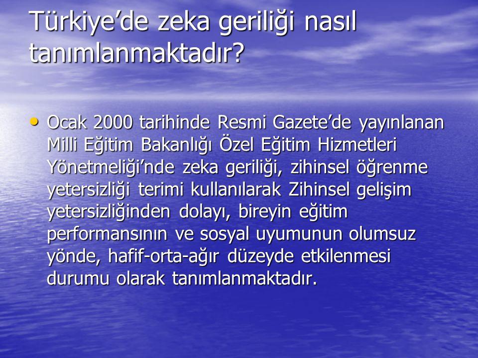 Türkiye'de zeka geriliği nasıl tanımlanmaktadır? Ocak 2000 tarihinde Resmi Gazete'de yayınlanan Milli Eğitim Bakanlığı Özel Eğitim Hizmetleri Yönetmel