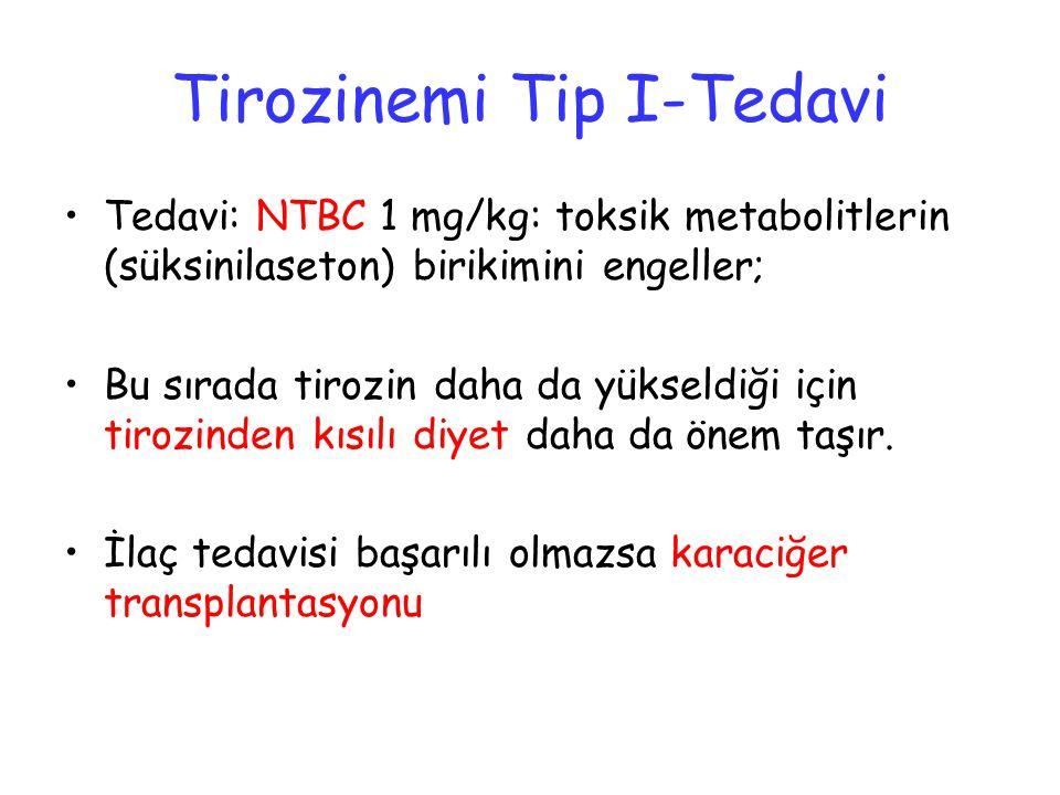 Tirozinemi Tip I-Tedavi Tedavi: NTBC 1 mg/kg: toksik metabolitlerin (süksinilaseton) birikimini engeller; Bu sırada tirozin daha da yükseldiği için tirozinden kısılı diyet daha da önem taşır.