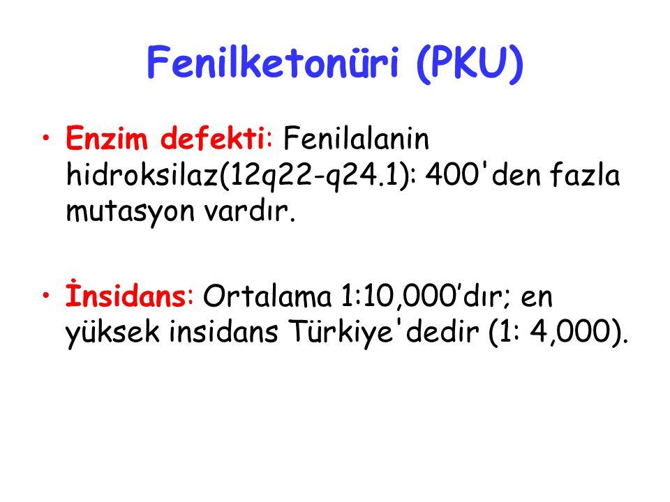 Fenilketonüri (PKU) Enzim defekti: Fenilalanin hidroksilaz(12q22-q24.1): 400'den fazla mutasyon vardır. İnsidans: Ortalama 1:10,000'dır; en yüksek ins