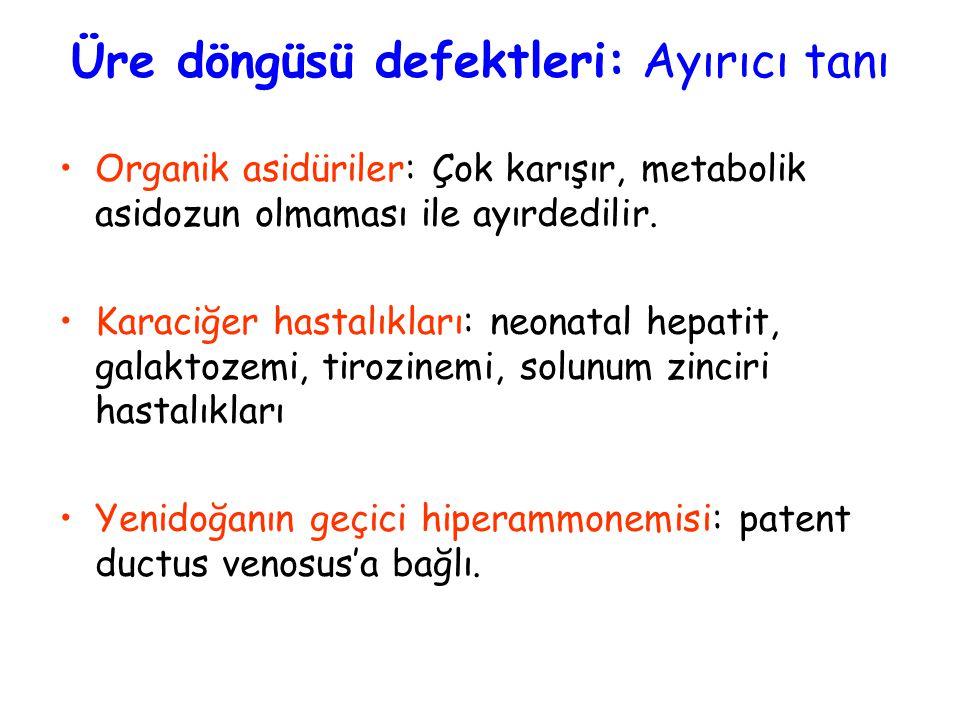 Üre döngüsü defektleri: Ayırıcı tanı Organik asidüriler: Çok karışır, metabolik asidozun olmaması ile ayırdedilir.