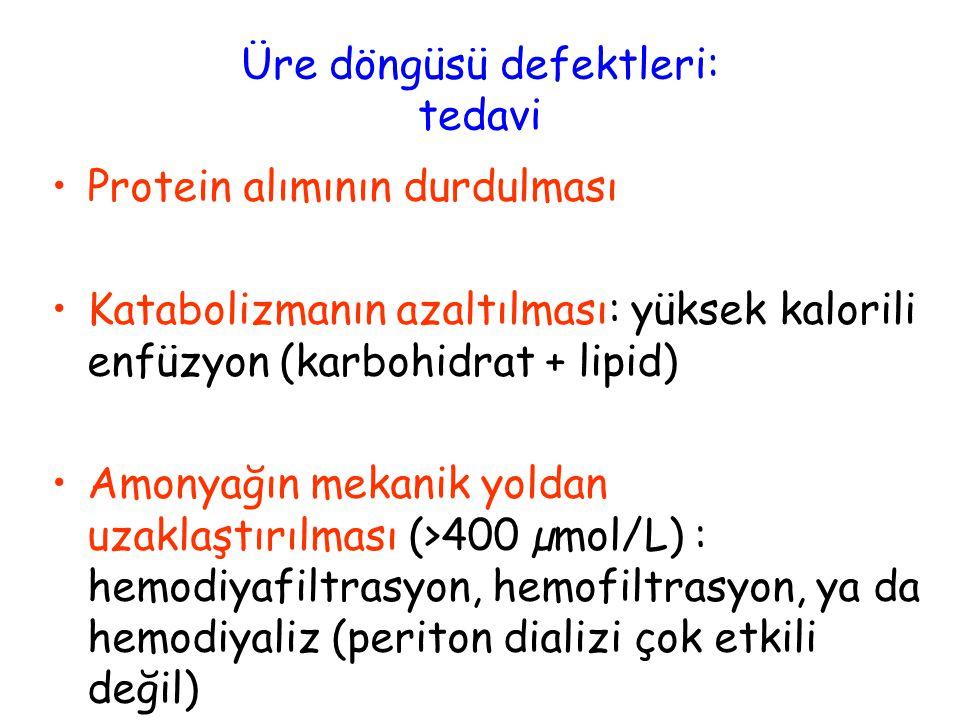 Üre döngüsü defektleri: tedavi Protein alımının durdulması Katabolizmanın azaltılması: yüksek kalorili enfüzyon (karbohidrat + lipid) Amonyağın mekanik yoldan uzaklaştırılması (>400 µmol/L) : hemodiyafiltrasyon, hemofiltrasyon, ya da hemodiyaliz (periton dializi çok etkili değil) Arjinin: 100-600 mg/kg/gün (üre siklusunu destekler) Sodyum benzoat: 350mg/kg/gün Sodyum fenilbütirat: 250mg/kg/gün Karglumik asit (Carbaglu®): 70-250 mg/kg/gün (NAGS yetersizliği) (üre siklusunu destekler)