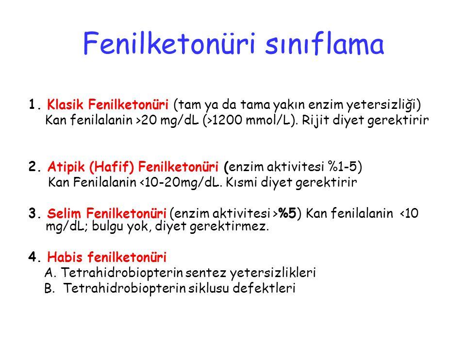 Fenilketonüri sınıflama 1. Klasik Fenilketonüri (tam ya da tama yakın enzim yetersizliği) Kan fenilalanin >20 mg/dL (>1200 mmol/L). Rijit diyet gerekt