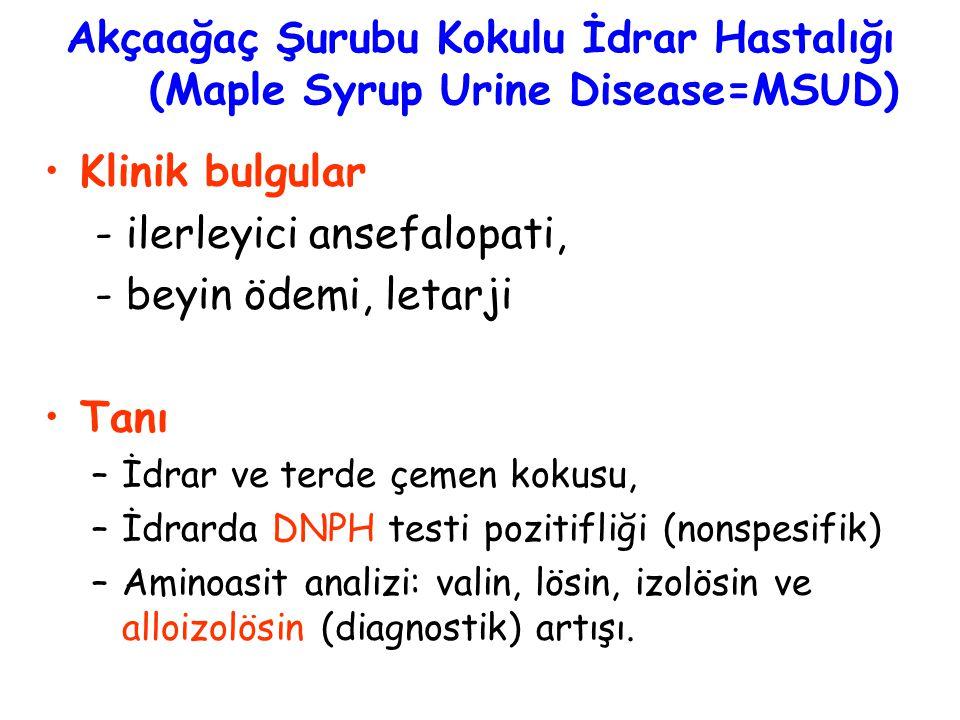 Akçaağaç Şurubu Kokulu İdrar Hastalığı (Maple Syrup Urine Disease=MSUD) Klinik bulgular - ilerleyici ansefalopati, - beyin ödemi, letarji Tanı –İdrar ve terde çemen kokusu, –İdrarda DNPH testi pozitifliği (nonspesifik) –Aminoasit analizi: valin, lösin, izolösin ve alloizolösin (diagnostik) artışı.