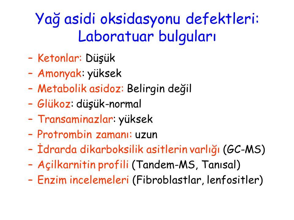 Yağ asidi oksidasyonu defektleri: Laboratuar bulguları –Ketonlar: Düşük –Amonyak: yüksek –Metabolik asidoz: Belirgin değil –Glükoz: düşük-normal –Transaminazlar: yüksek –Protrombin zamanı: uzun –İdrarda dikarboksilik asitlerin varlığı (GC-MS) –Açilkarnitin profili (Tandem-MS, Tanısal) –Enzim incelemeleri (Fibroblastlar, lenfositler)