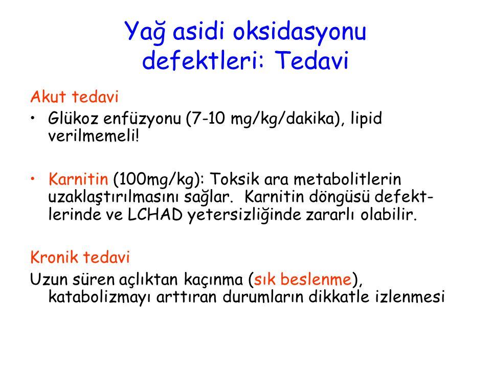 Akut tedavi Glükoz enfüzyonu (7-10 mg/kg/dakika), lipid verilmemeli! Karnitin (100mg/kg): Toksik ara metabolitlerin uzaklaştırılmasını sağlar. Karniti