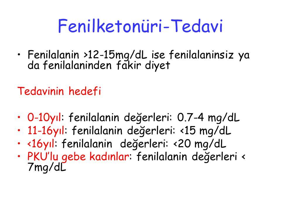 Fenilketonüri-Tedavi Fenilalanin >12-15mg/dL ise fenilalaninsiz ya da fenilalaninden fakir diyet Tedavinin hedefi 0-10yıl: fenilalanin değerleri: 0.7-4 mg/dL 11-16yıl: fenilalanin değerleri: <15 mg/dL <16yıl: fenilalanin değerleri: <20 mg/dL PKU'lu gebe kadınlar: fenilalanin değerleri < 7mg/dL