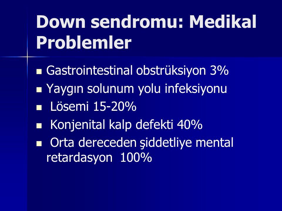 Down sendromu: Medikal Problemler Gastrointestinal obstrüksiyon 3% Yaygın solunum yolu infeksiyonu Lösemi 15-20% Konjenital kalp defekti 40% Orta dere