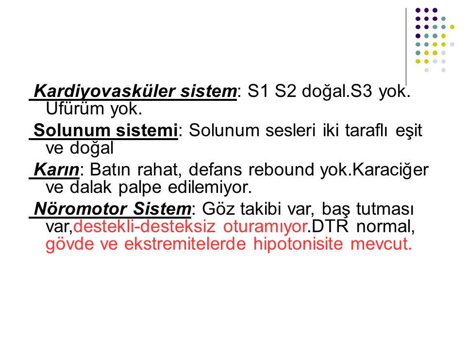 Kardiyovasküler sistem: S1 S2 doğal.S3 yok. Üfürüm yok. Solunum sistemi: Solunum sesleri iki taraflı eşit ve doğal Karın: Batın rahat, defans rebound