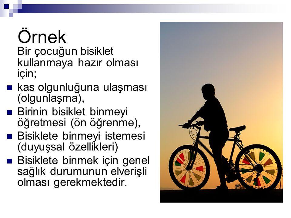 Örnek Bir çocuğun bisiklet kullanmaya hazır olması için; kas olgunluğuna ulaşması (olgunlaşma), Birinin bisiklet binmeyi öğretmesi (ön öğrenme), Bisik