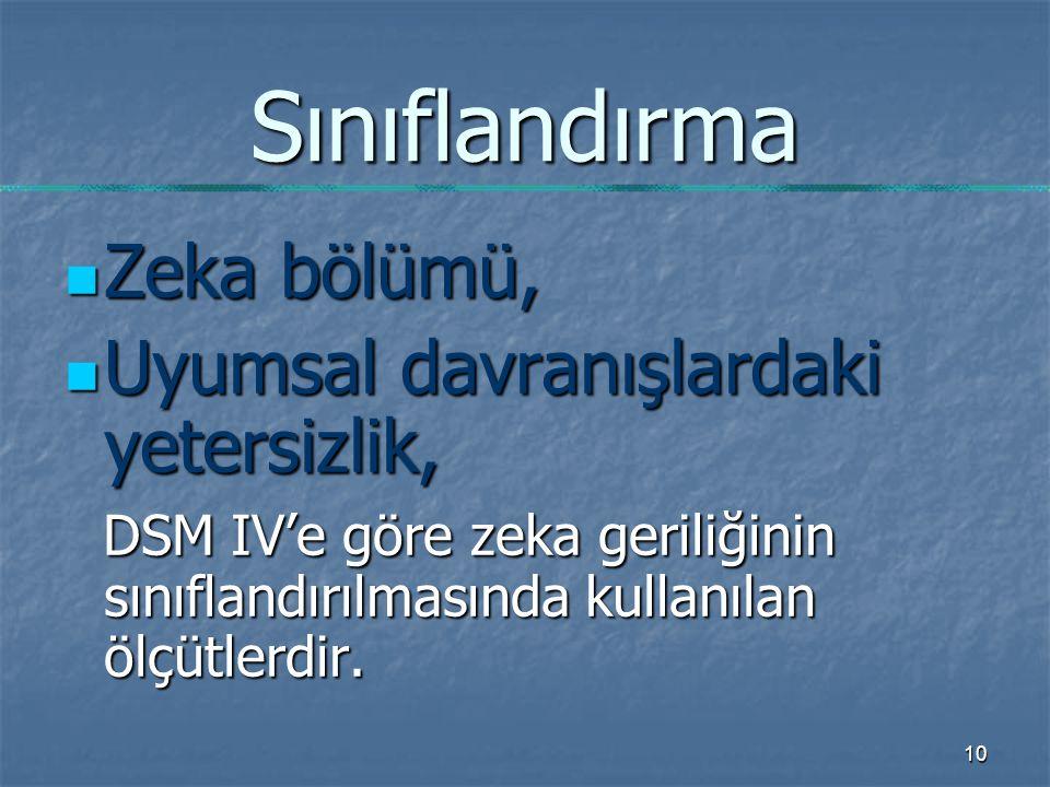 10 Sınıflandırma Zeka bölümü, Zeka bölümü, Uyumsal davranışlardaki yetersizlik, Uyumsal davranışlardaki yetersizlik, DSM IV'e göre zeka geriliğinin sınıflandırılmasında kullanılan ölçütlerdir.