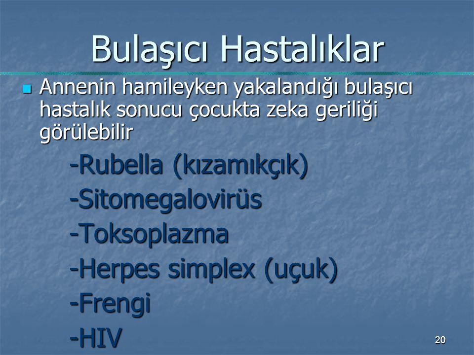 20 Bulaşıcı Hastalıklar Annenin hamileyken yakalandığı bulaşıcı hastalık sonucu çocukta zeka geriliği görülebilir Annenin hamileyken yakalandığı bulaşıcı hastalık sonucu çocukta zeka geriliği görülebilir -Rubella (kızamıkçık) -Sitomegalovirüs-Toksoplazma -Herpes simplex (uçuk) -Frengi-HIV