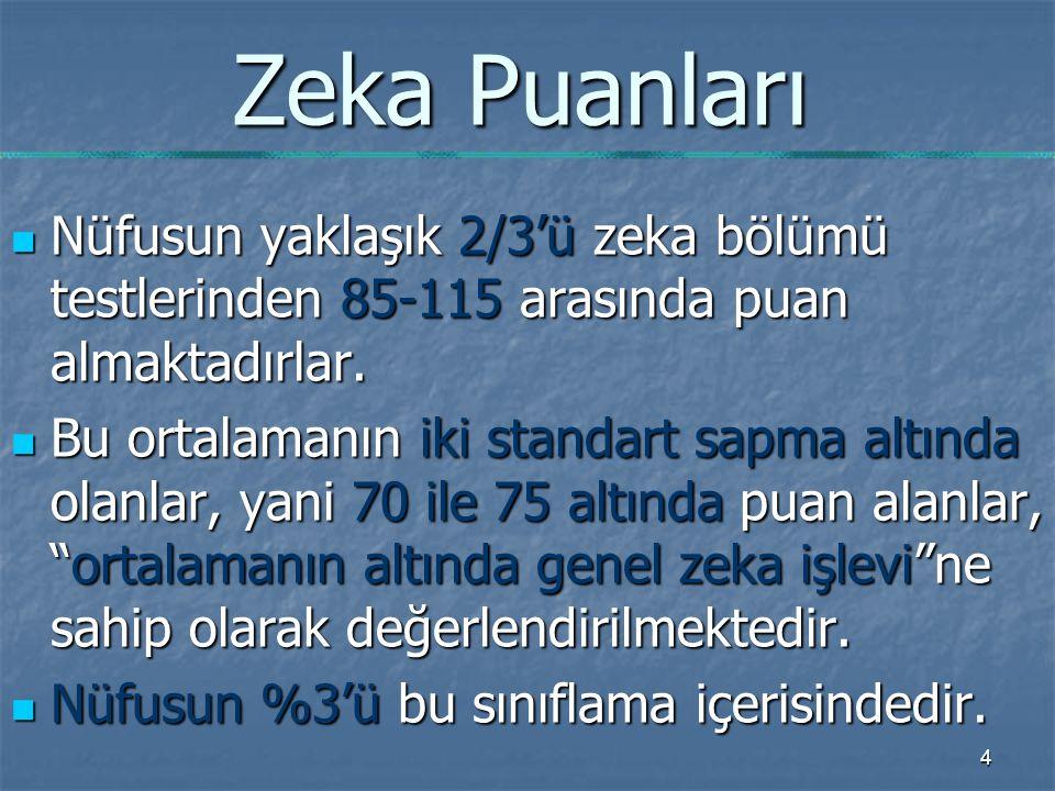 4 Zeka Puanları Nüfusun yaklaşık 2/3'ü zeka bölümü testlerinden 85-115 arasında puan almaktadırlar.