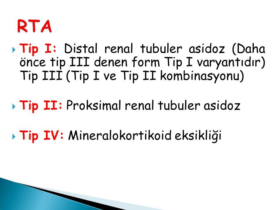 Tip I: Distal renal tubuler asidoz (Daha önce tip III denen form Tip I varyantıdır) Tip III (Tip I ve Tip II kombinasyonu)  Tip II: Proksimal renal