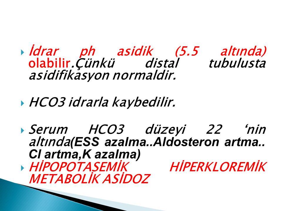  İdrar ph asidik (5.5 altında) olabilir.Çünkü distal tubulusta asidifikasyon normaldir.  HCO3 idrarla kaybedilir.  Serum HCO3 düzeyi 22 'nin altınd