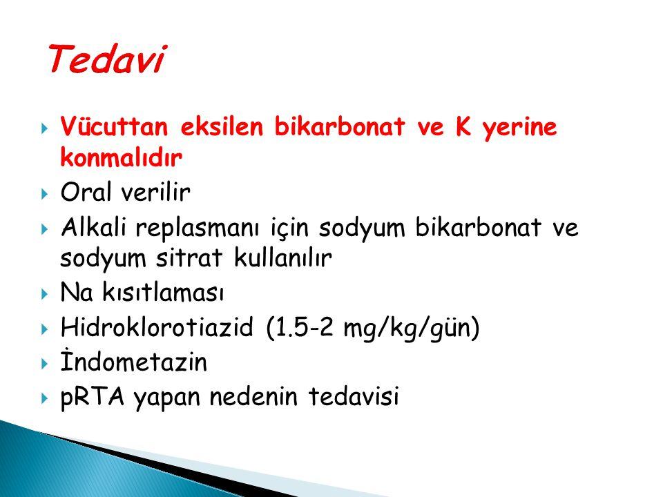  Vücuttan eksilen bikarbonat ve K yerine konmalıdır  Oral verilir  Alkali replasmanı için sodyum bikarbonat ve sodyum sitrat kullanılır  Na kısıtl