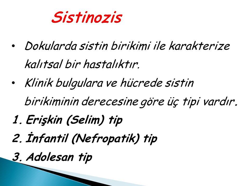 Sistinozis Dokularda sistin birikimi ile karakterize kalıtsal bir hastalıktır. Klinik bulgulara ve hücrede sistin birikiminin derecesine göre üç tipi