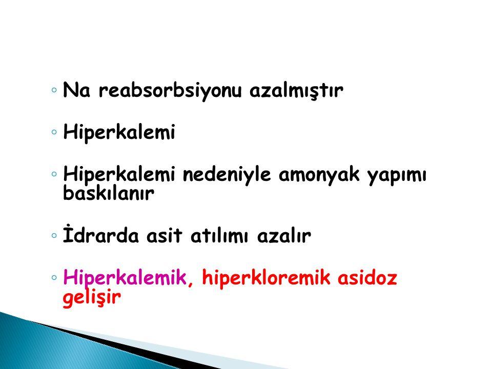 ◦ Na reabsorbsiyonu azalmıştır ◦ Hiperkalemi ◦ Hiperkalemi nedeniyle amonyak yapımı baskılanır ◦ İdrarda asit atılımı azalır ◦ Hiperkalemik, hiperklor