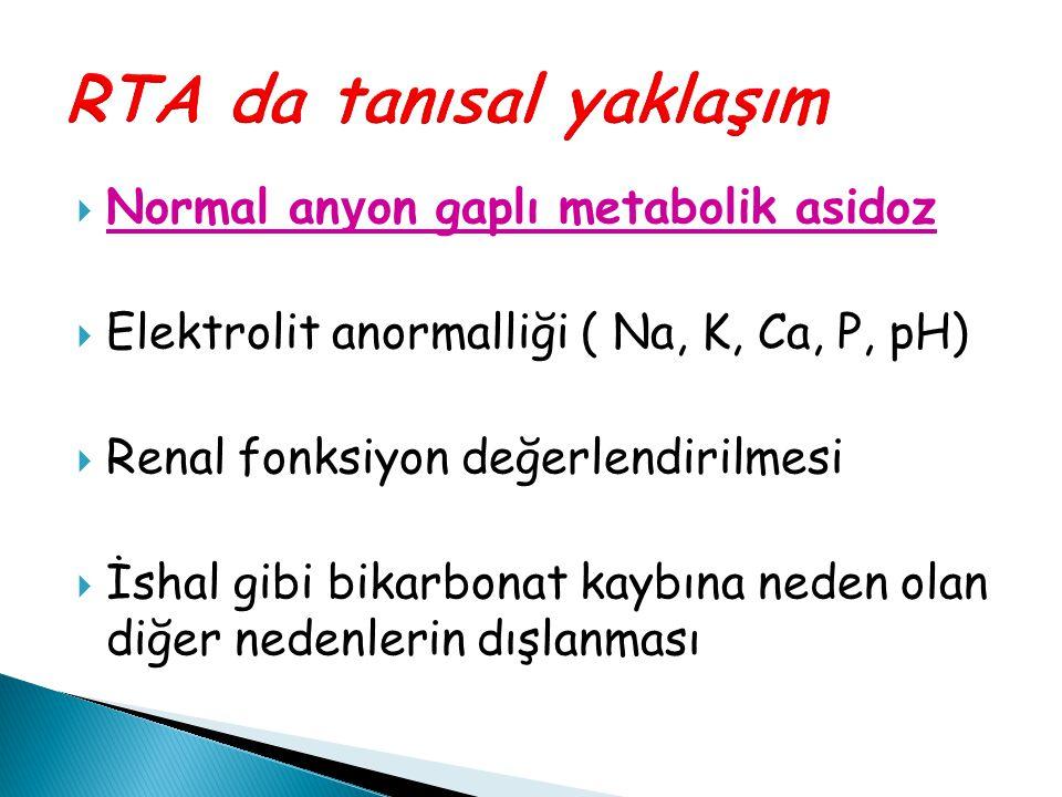  Normal an y on gaplı metabolik asidoz  Elektrolit anormalliği ( Na, K, Ca, P, pH)  Renal fonksiyon değerlendirilmesi  İshal gibi bikarbonat kaybı
