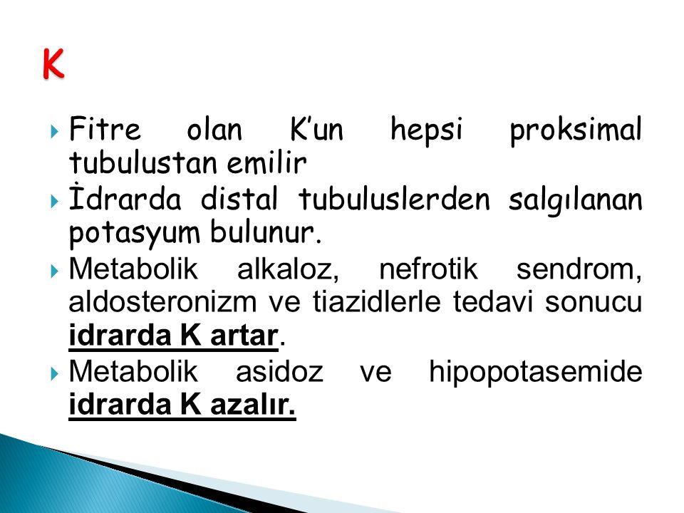  Fitre olan K'un hepsi proksimal tubulustan emilir  İdrarda distal tubuluslerden salgılanan potasyum bulunur.  Metabolik alkaloz, nefrotik sendrom,
