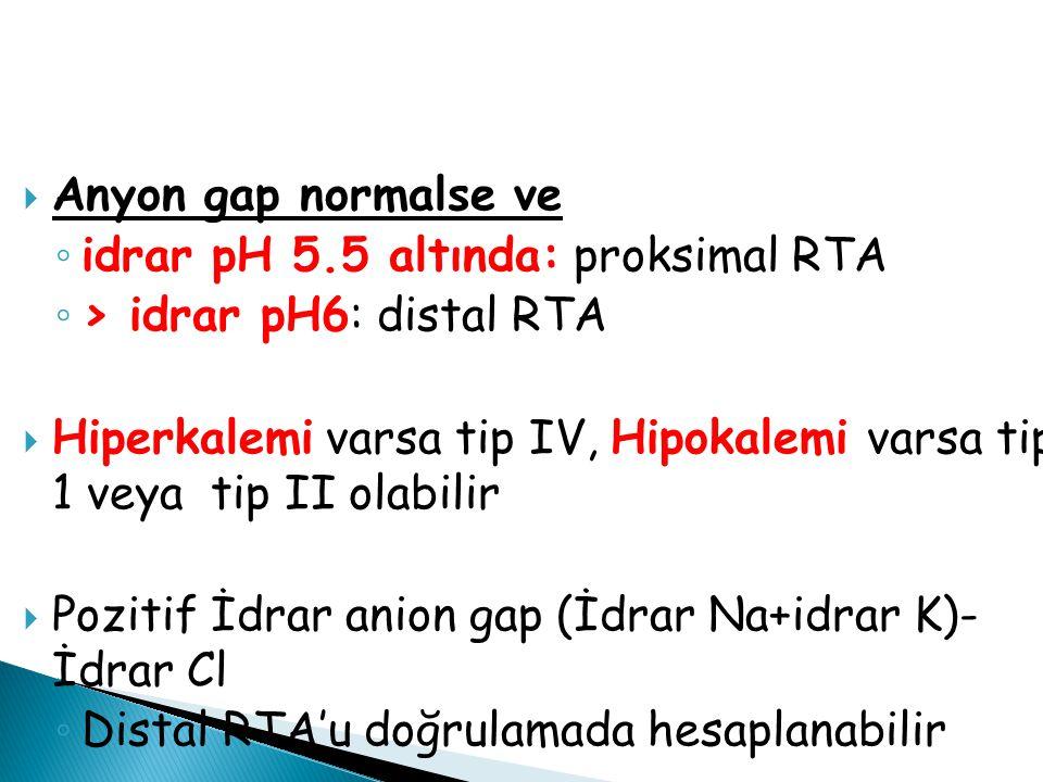  Anyon gap normalse ve ◦ idrar pH 5.5 altında: proksimal RTA ◦ > idrar pH6: distal RTA  Hiperkalemi varsa tip IV, Hipokalemi varsa tip 1 veya tip II