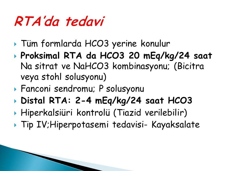  Tüm formlarda HCO3 yerine konulur  Proksimal RTA da HCO3 20 mEq/kg/24 saat Na sitrat ve NaHCO3 kombinasyonu; (Bicitra veya stohl solusyonu)  Fanco