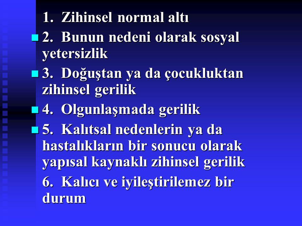 1. Zihinsel normal altı 1. Zihinsel normal altı 2. Bunun nedeni olarak sosyal yetersizlik 2. Bunun nedeni olarak sosyal yetersizlik 3. Doğuştan ya da