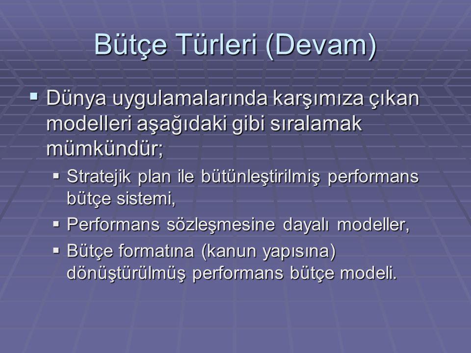 Bütçe Türleri (Devam)  Dünya uygulamalarında karşımıza çıkan modelleri aşağıdaki gibi sıralamak mümkündür;  Stratejik plan ile bütünleştirilmiş performans bütçe sistemi,  Performans sözleşmesine dayalı modeller,  Bütçe formatına (kanun yapısına) dönüştürülmüş performans bütçe modeli.