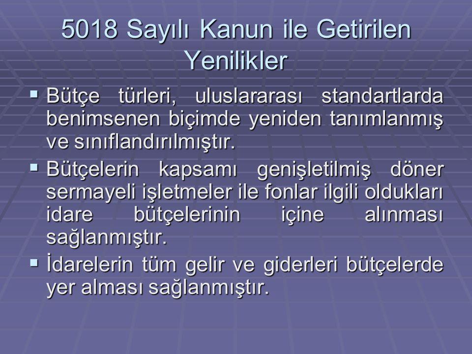 5018 Sayılı Kanun ile Getirilen Yenilikler  Bütçe türleri, uluslararası standartlarda benimsenen biçimde yeniden tanımlanmış ve sınıflandırılmıştır.