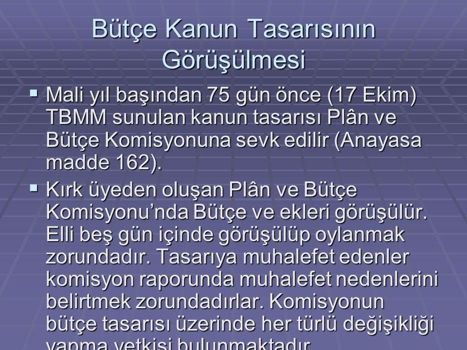Bütçe Kanun Tasarısının Görüşülmesi  Mali yıl başından 75 gün önce (17 Ekim) TBMM sunulan kanun tasarısı Plân ve Bütçe Komisyonuna sevk edilir (Anayasa madde 162).