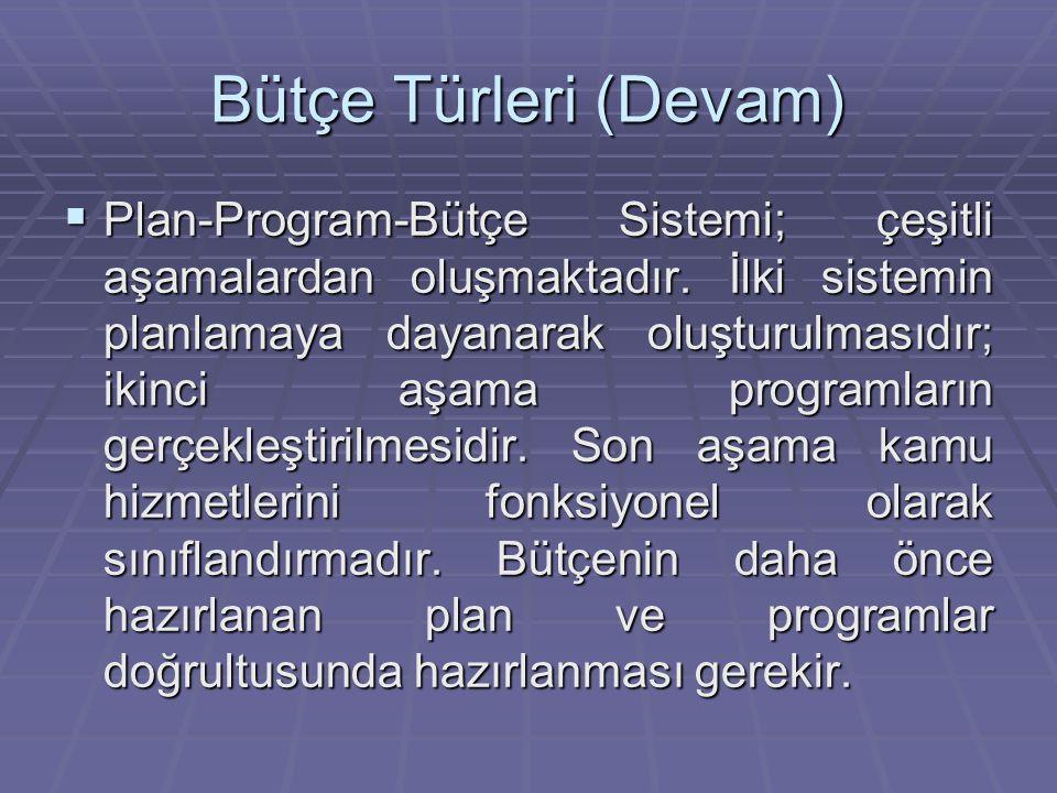 Bütçe Türleri (Devam)  Plan-Program-Bütçe Sistemi; çeşitli aşamalardan oluşmaktadır.
