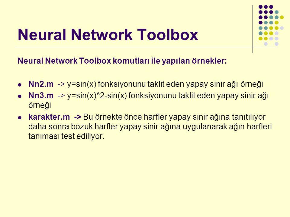 Neural Network Toolbox Neural Network Toolbox komutları ile yapılan örnekler: Nn2.m -> y=sin(x) fonksiyonunu taklit eden yapay sinir ağı örneği Nn3.m -> y=sin(x)^2-sin(x) fonksiyonunu taklit eden yapay sinir ağı örneği karakter.m -> Bu örnekte önce harfler yapay sinir ağına tanıtılıyor daha sonra bozuk harfler yapay sinir ağına uygulanarak ağın harfleri tanıması test ediliyor.