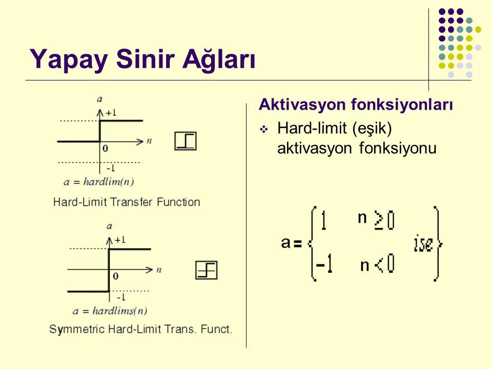 Yapay Sinir Ağları Aktivasyon fonksiyonları  Sigmoid aktivasyon fonksiyonu  Pureline (Doğrusal) aktivasyon fonksiyonu