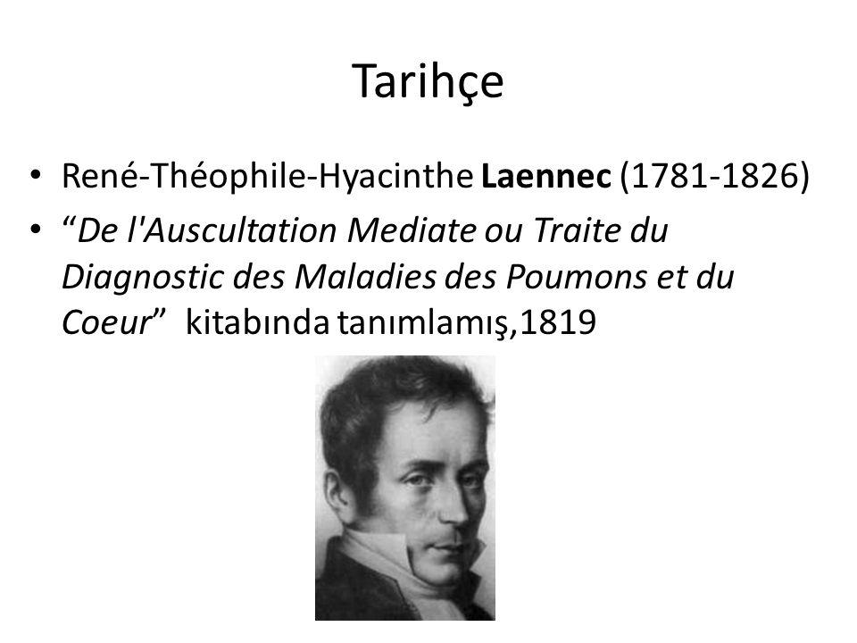 """Tarihçe René-Théophile-Hyacinthe Laennec (1781-1826) """"De l'Auscultation Mediate ou Traite du Diagnostic des Maladies des Poumons et du Coeur"""" kitabınd"""