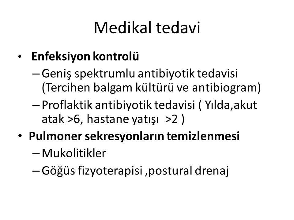 Medikal tedavi Enfeksiyon kontrolü – Geniş spektrumlu antibiyotik tedavisi (Tercihen balgam kültürü ve antibiogram) – Proflaktik antibiyotik tedavisi
