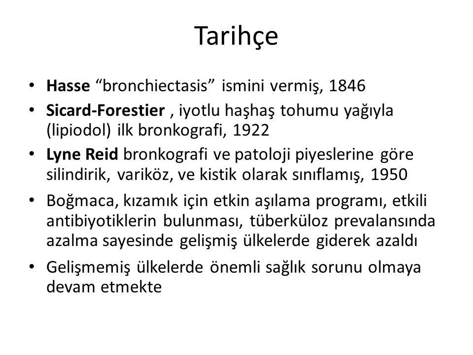 """Tarihçe Hasse """"bronchiectasis"""" ismini vermiş, 1846 Sicard-Forestier, iyotlu haşhaş tohumu yağıyla (lipiodol) ilk bronkografi, 1922 Lyne Reid bronkogra"""