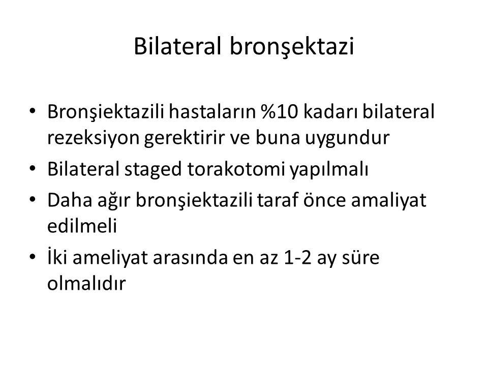 Bilateral bronşektazi Bronşiektazili hastaların %10 kadarı bilateral rezeksiyon gerektirir ve buna uygundur Bilateral staged torakotomi yapılmalı Daha