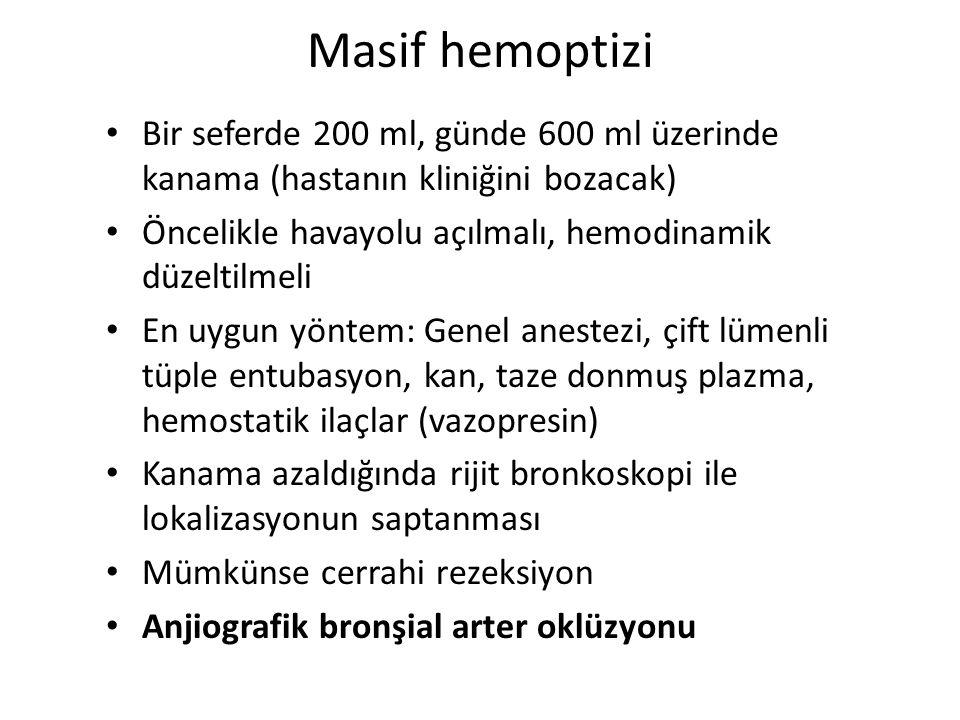 Masif hemoptizi Bir seferde 200 ml, günde 600 ml üzerinde kanama (hastanın kliniğini bozacak) Öncelikle havayolu açılmalı, hemodinamik düzeltilmeli En