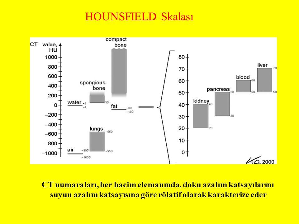 HOUNSFIELD Skalası CT numaraları, her hacim elemanında, doku azalım katsayılarını suyun azalım katsayısına göre rölatif olarak karakterize eder