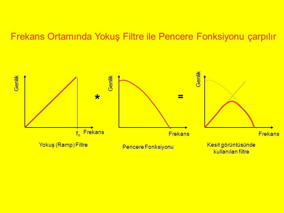 Frekans Genlik * = Yokuş (Ramp) Filtre Pencere Fonksiyonu Kesit görüntüsünde kullanılan filtre Frekans Ortamında Yokuş Filtre ile Pencere Fonksiyonu ç