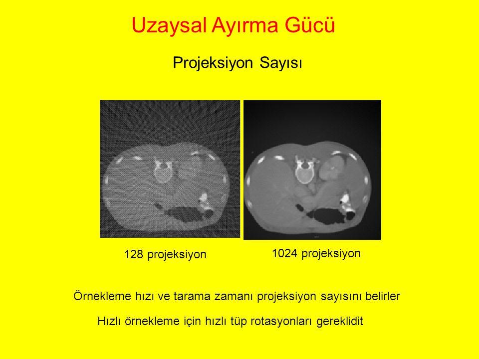 128 projeksiyon 1024 projeksiyon Örnekleme hızı ve tarama zamanı projeksiyon sayısını belirler Uzaysal Ayırma Gücü Projeksiyon Sayısı Hızlı örnekleme