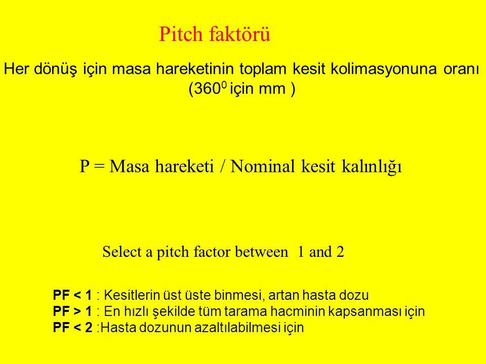 Her dönüş için masa hareketinin toplam kesit kolimasyonuna oranı (360 0 için mm ) P = Masa hareketi / Nominal kesit kalınlığı Pitch faktörü Select a p