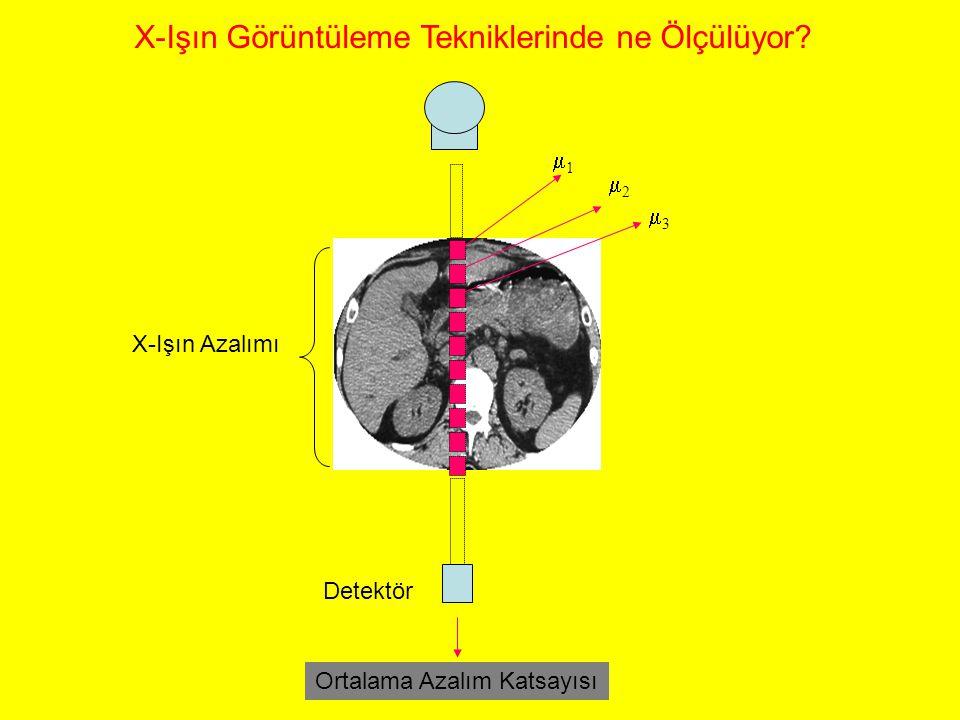 11 22 33 Detektör X-Işın Görüntüleme Tekniklerinde ne Ölçülüyor? X-Işın Azalımı Ortalama Azalım Katsayısı