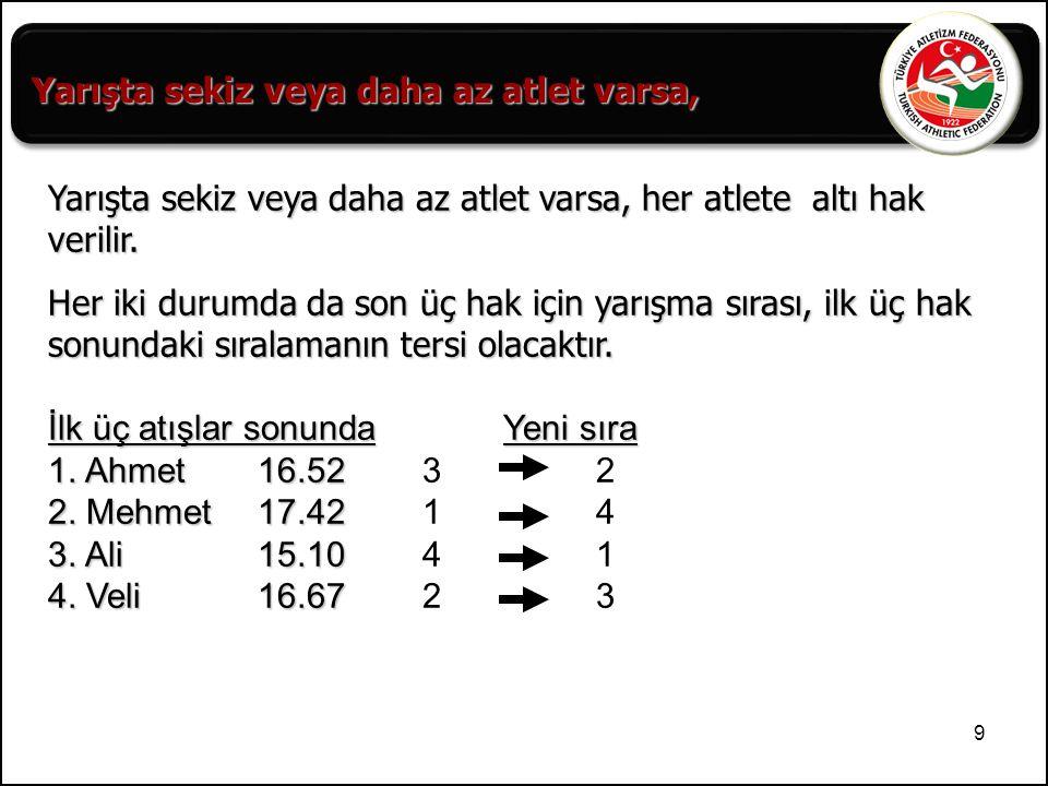 10 Aşağıdaki Gülle Atma yarışının sıralamasını yapınız.